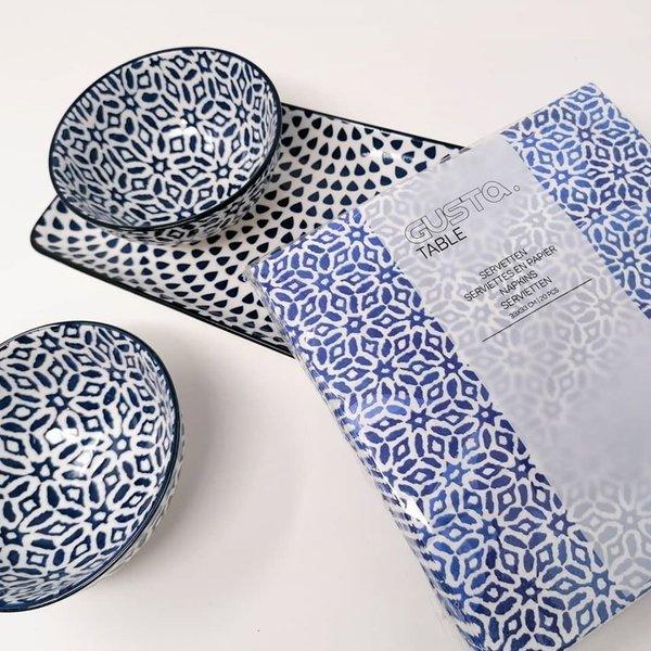 """Tapas Set """"out of the blue"""" bestehend aus länglicher Platte und 2 Schälchen von Gusta Table"""
