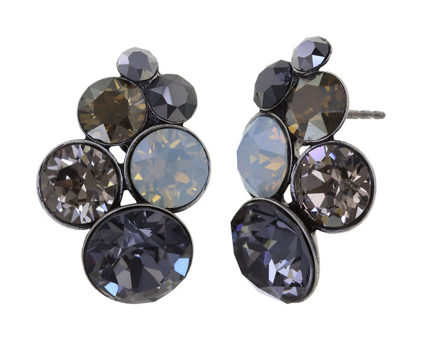 Konplott Ohrringe Ohrstecker Glamour in schwarz, grau, milchig grau, Farbbezeichnung Carbon Black, auf antique silver  (Kopie)