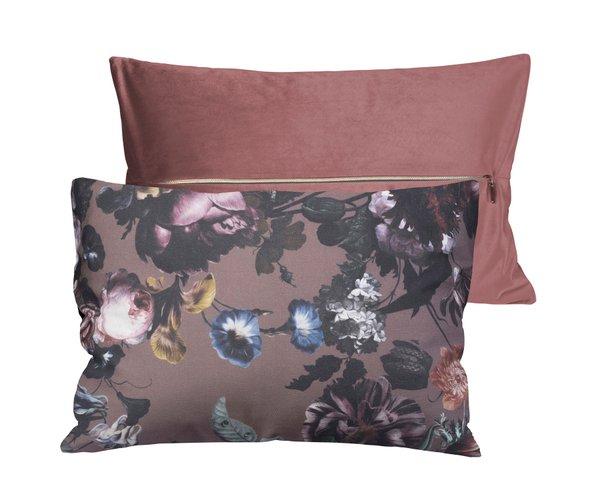Pichler Bouquet Kissenhülle im Bohemian Style, mauve (rosa), Rückseite samtweich 30*50 cm mit Reissverschluss (Kopie)