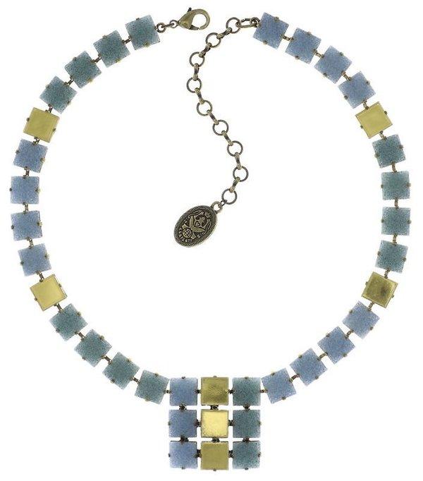 Konplott Collier Cleo light blue hellblau gold antique brass