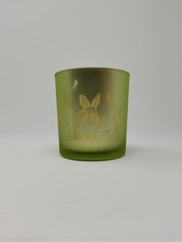 Teelicht Halter Hase Frühling Ostern milchig grün Set von 2 Stück, 8 und 10 cm hoch