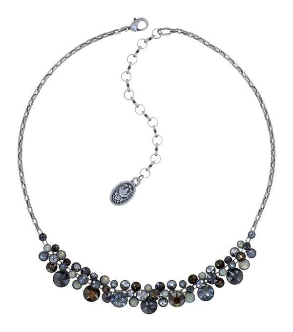 Konplott Collier Kette Water Cascade schwarz grau milchig grau, Farbbezeichnung Carbon black auf antique silver Herbst Winter 2021