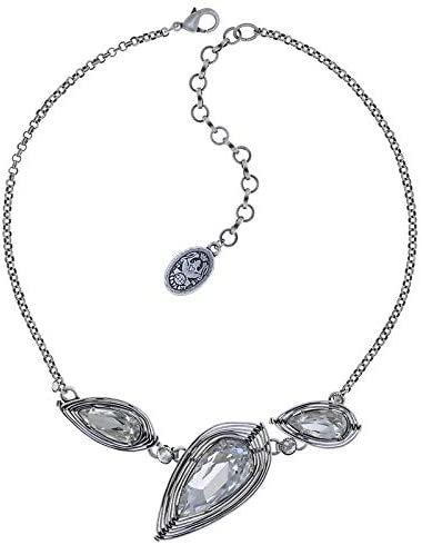 Kette Collier Halskette von Konplott Serie Amazonia Messing versilbert mit Kristallen in weiß