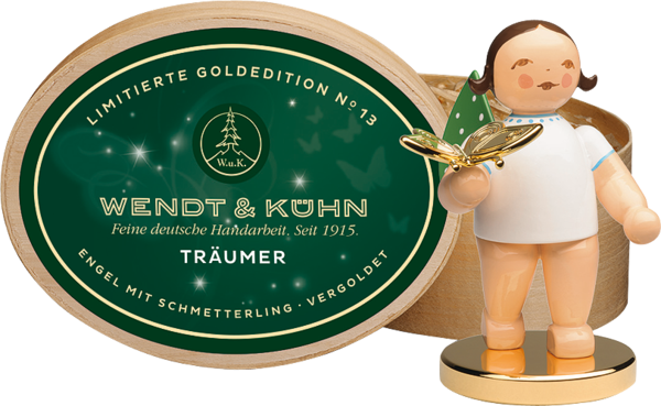 Wendt & Kühn Goldedition Nr. 13 Träumer mit vergoldetem Schmetterling, Metallsockel vergoldet, Haarfarbe dunkel