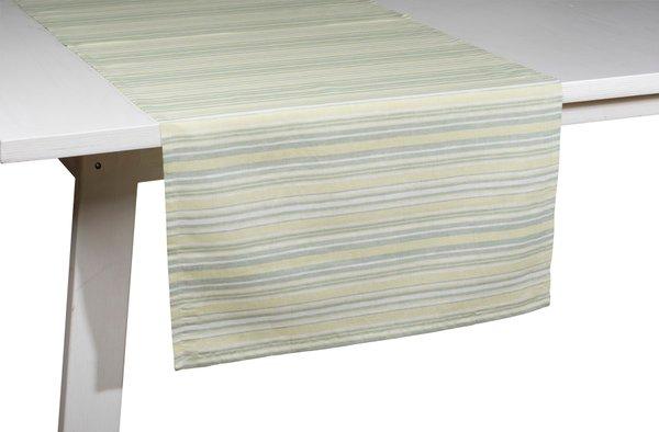 Pichler Tischläufer Gedeckläufer Loretta Farbe grün grasgrün GN gestreift 50*150 cm  Baumwolle/Leinen