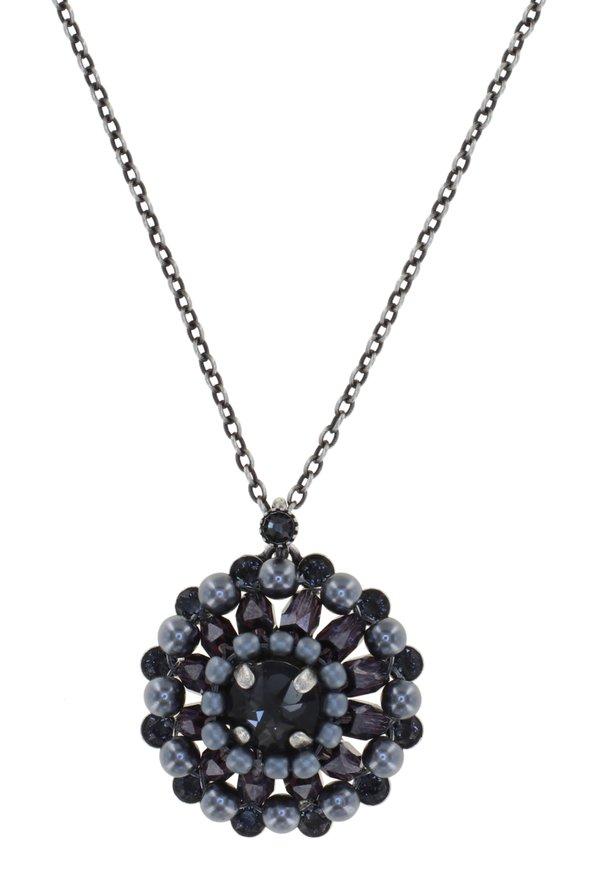 Konplott Kette Pendant Kette Kollektion Soul of Thorns Farbbezeichnung Midnight, blau schwarz grau auf antique silver Größe