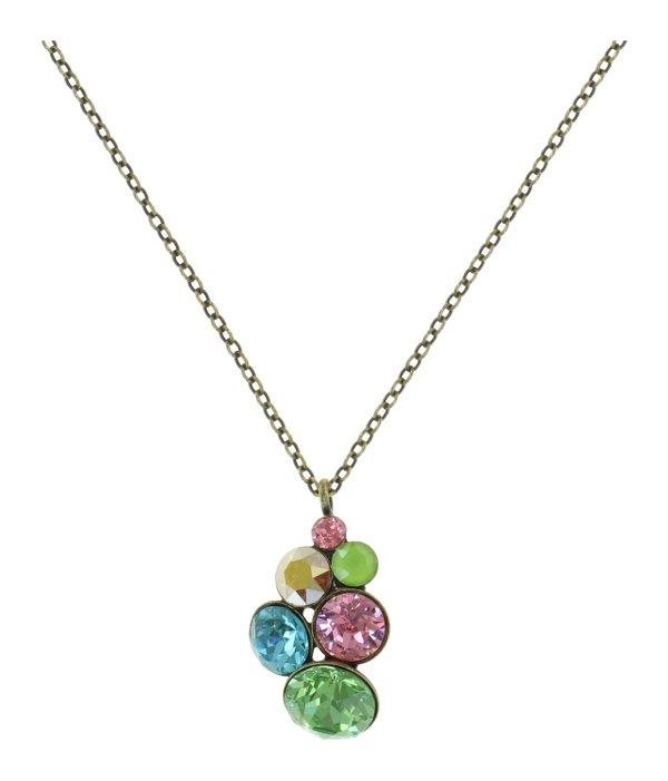 Konplott Pendant Kette mit Anhänger Petit Glamour in türkis, apfelgrün, rosa, gold, Farbbezeichnung Alicia´s Rococo multi, auf antique brass