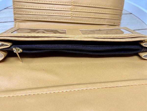 Ausgefallenes Portemonnaie mit Kette und Karabinerhaken, braun
