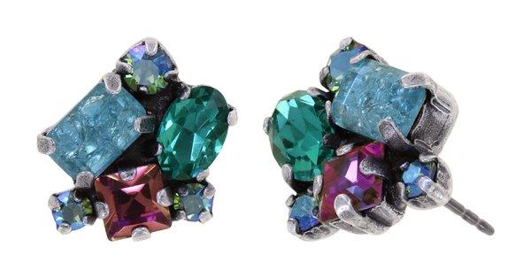 Konplott Ohrring Stecker Abegail in blau grün magenta, Farbbezeichnung blue green dark toxic Flames, auf hellem antique silver  (Kopie)