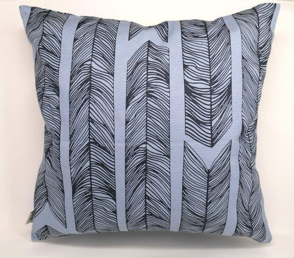 Kissen Set von 2 Kissenhüllen:  blau modern gemustert & blau mit Vögel Motiv und Keder, je  50 * 50 cm mit Reissverschluss