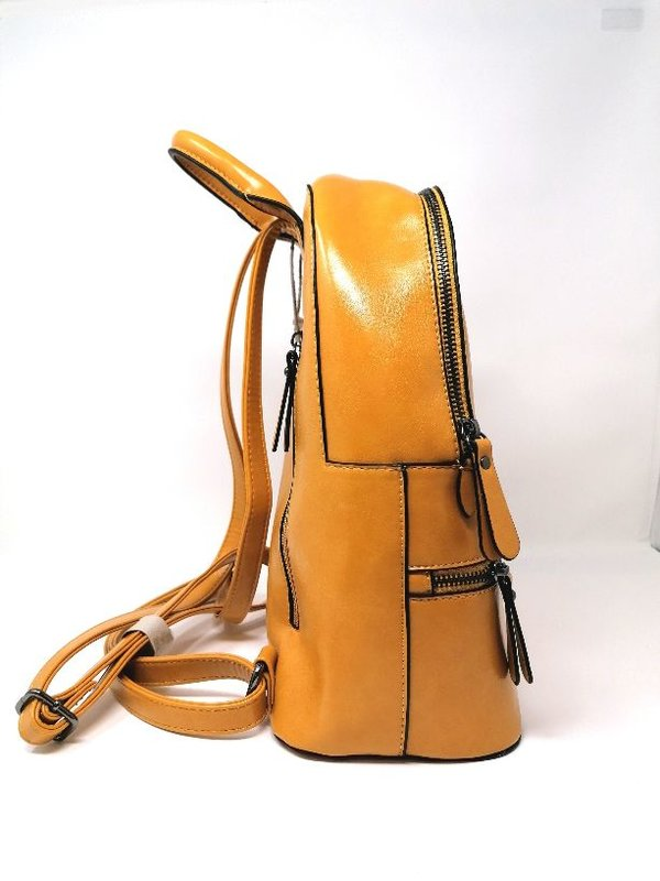 Modischer Rucksack Senf - Gelb mit vielen Fächern