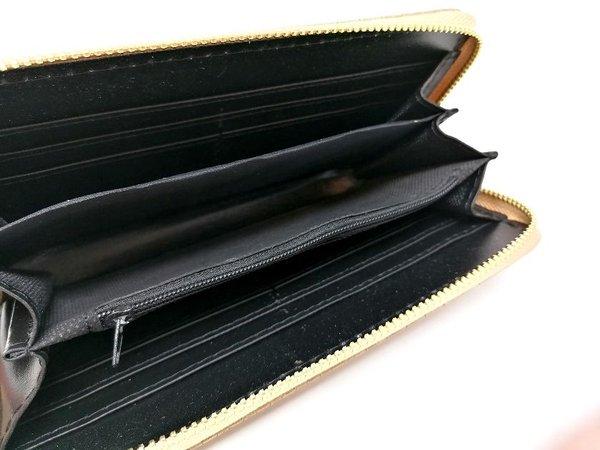 Portemonnaie Geldbörse sandfarben Flechtdesign in Lederoptik
