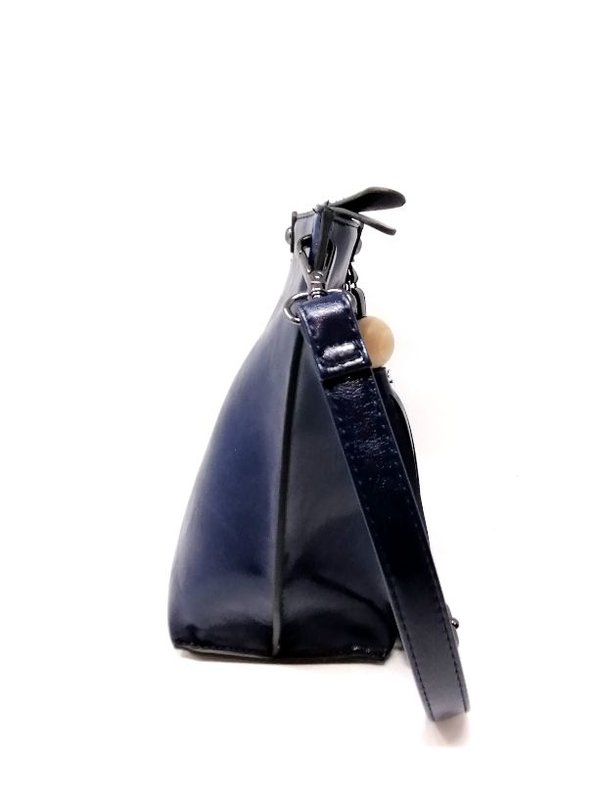 Handtasche dunkelblau Lederoptik mit Henkelgriff und langen Trageriehmen