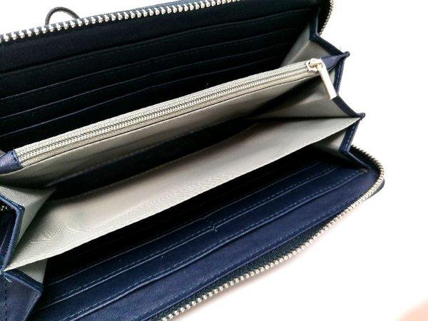 Portemonnaie Geldbörse dunkelblau mit praktischer Inneneinteilung, als Minihandtasche tragbar