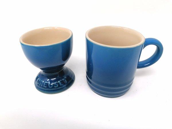 Le Creuset, Frühstücks-Set für Zwei: Espressotasse & Eierbecher in cool mint und petrol