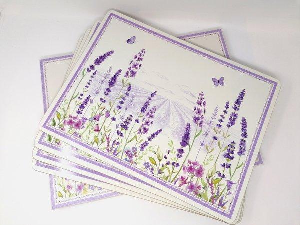 Tischsets Platzsets Lavendel von Easy Life Karton auf Kork lavendelblau