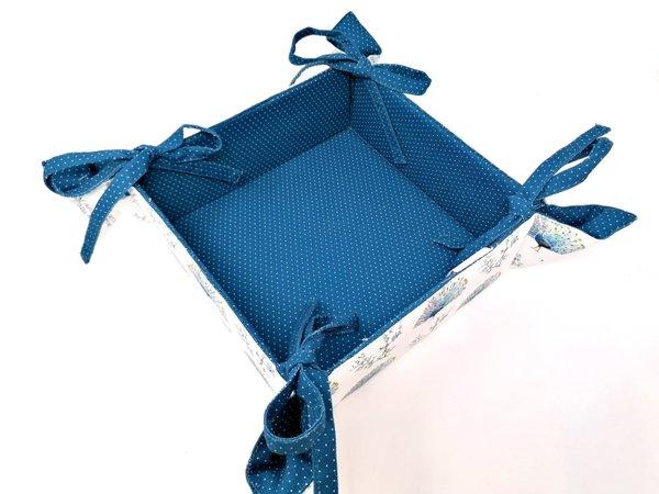 Set von Brotkörbchen, mir Topflappen und Topfhandschuh oder zwei Topfhandschuhen Design Pfau von Clayre & Eef, Baumwolle