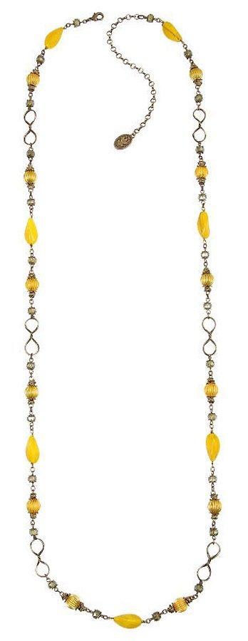 Konplott Kette Tropical Candy lange Halskette gelb auf antique brass Messing
