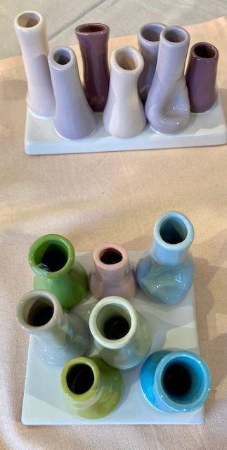 Minivasen Bianco Keramik grün Mix glasiert