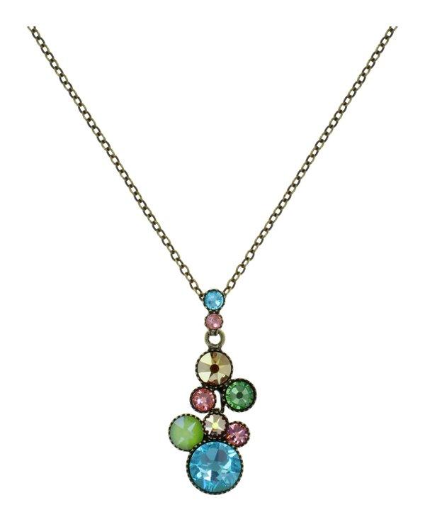 Konplott Pendant Kette mit Anhänger Water Cascade in türkis, apfelgrün, rosa, gold, Farbbezeichnung Alicia´s Rococo multi, auf antique brass
