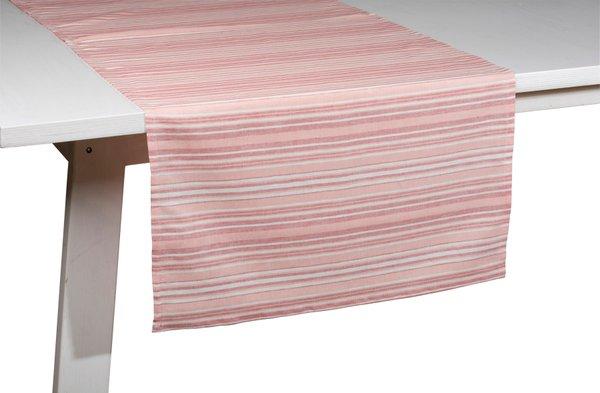 Pichler Tischläufer Gedeckläufer Loretta Farbe Koralle KR gestreift 50*150 cm  Baumwolle/Leinen