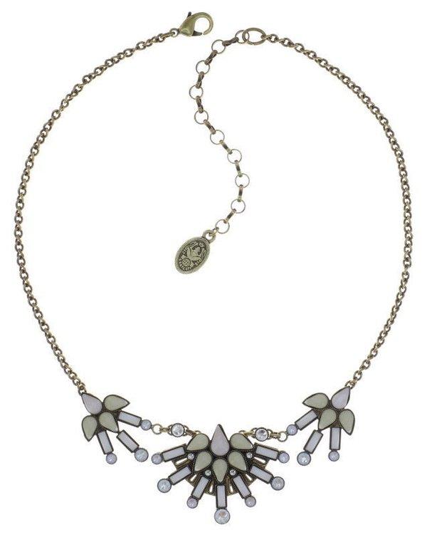 Konplott Kette Halskette Geisha Collier weiss creme  - innocent for now - antique brass
