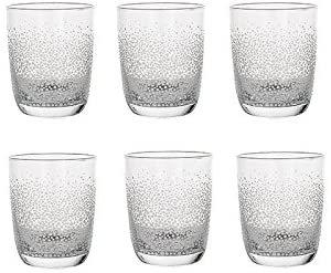 Glas Wasserglas Saftglas Kollektion Fizzy von Sia Home Fashion, klar / milchig, 6er Set !