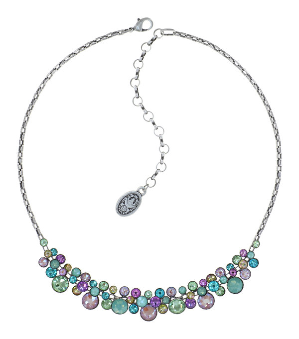 Konplott Collier Kette Water Cascade Miami Ice in multi mint, lila, grün, rose  auf antique silver Frühling Sommer 2021
