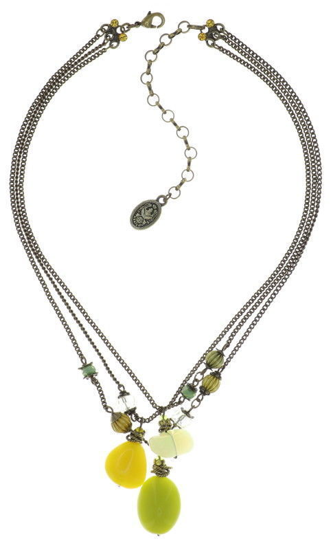 Konplott Kette Tropical Candy 3er collier Halskette gelb auf antique brass Messing
