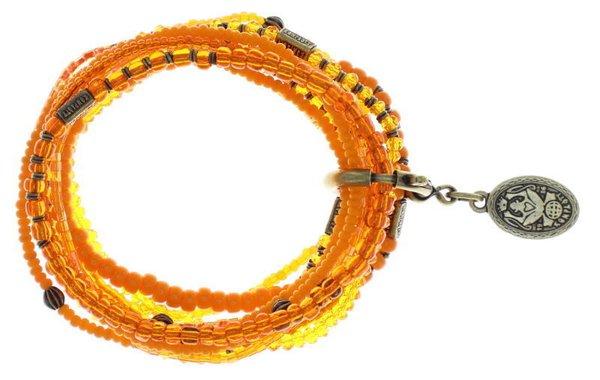 Konplott Armband Bundle Petit Glamour d'Afrique uni orange mit antique brass Schmuckelementen by Miranda Konstantinidou, elastisch