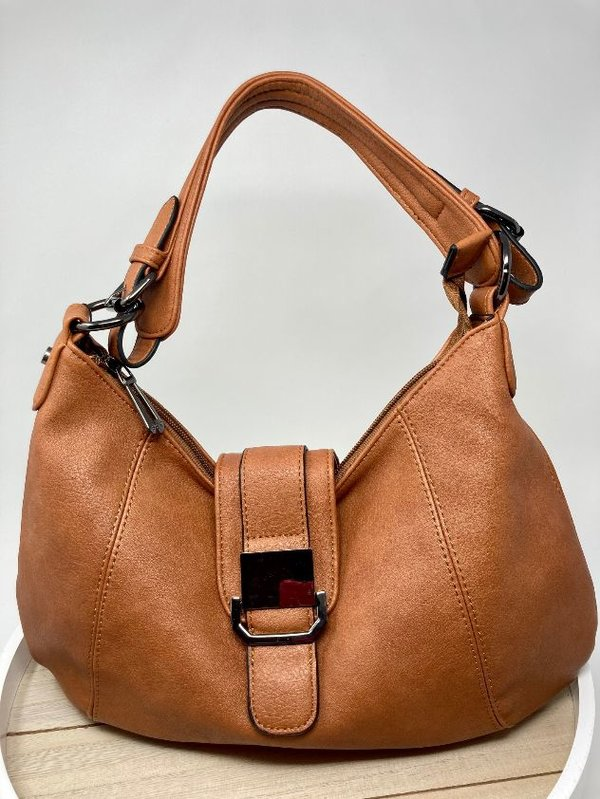Handtasche in Bananenform cognacbraun