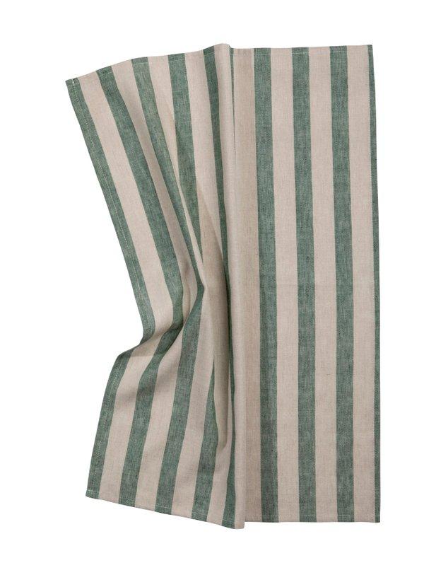 Pichler Geschirrtuch Niclas Halbleinen 50 / 70 cm natur mit breiten grünen Streifen grün gestreift (Farbbezeichnung pinie ) Blockstreifen
