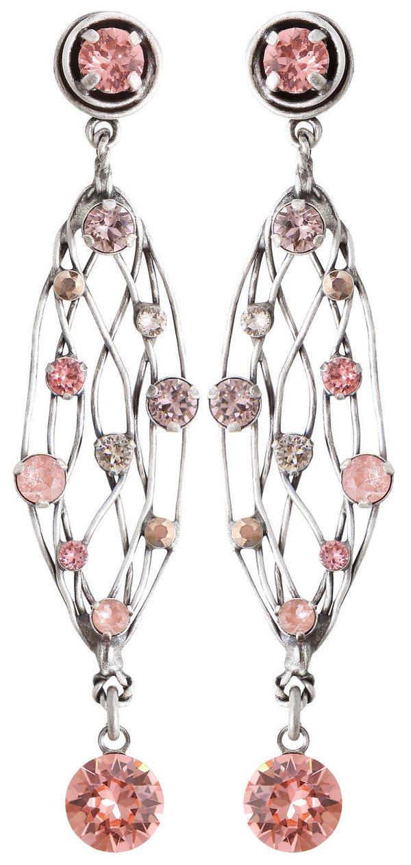 Konplott Ohrringe Ohrstecker Cages in rosa beige, auf antique silver