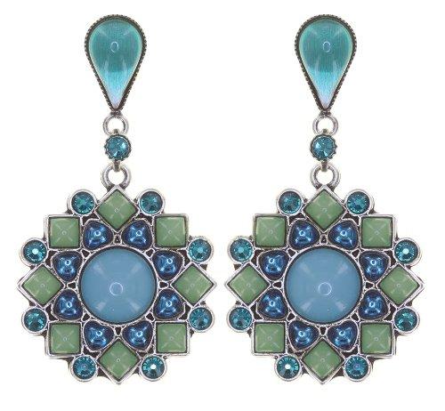 Konplott Ohrringe hängende Ohrstecker Mandala in türkis / blau antique silver