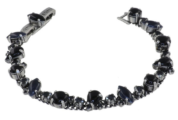 Konplott Armband Afternoon Tea black Farbberzeichnung deep night, schwarz auf antique silver by Miranda Konstantinidou mit Swarovski Elementen