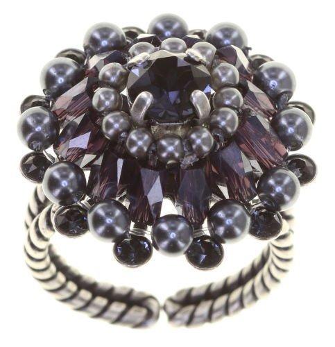 Konplott Ring Kollektion Soul of Thorns Farbbezeichnung Midnight, blau schwarz grau