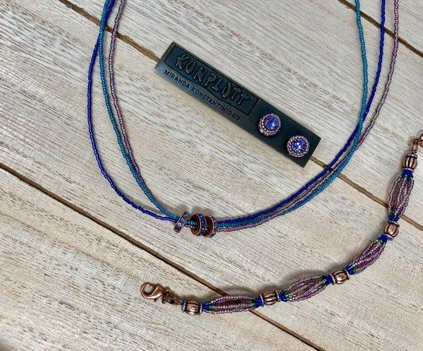 Konplott African Glam Kette blau/lila auf antique copper
