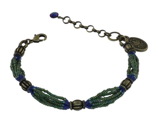Konplott African Glam Farbe light tourmaline dunkelgrün/blau auf antique brass Messing: Set von Armband und Kette !