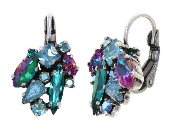 Konplott Ohrring Hänger Brissur Abegail in blau grün magenta, Farbbezeichnung blue green dark toxic Flames, auf hellem antique silver