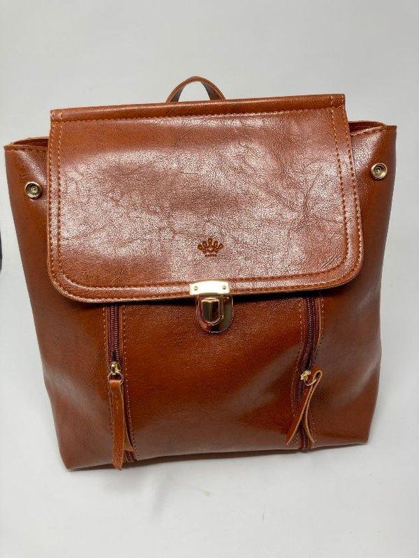 Schicker Rucksack - auch als Handtasche tragbar, cognacbraun