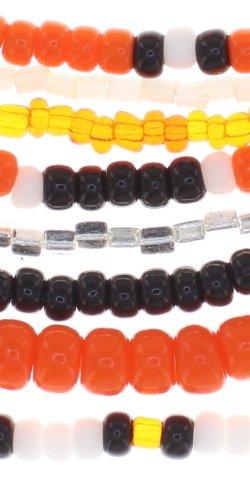Konplott Armband Bundle Petit Glamour d'Afrique orange schwarz mit antique brass Schmuckelementen by Miranda Konstantinidou, elastisch