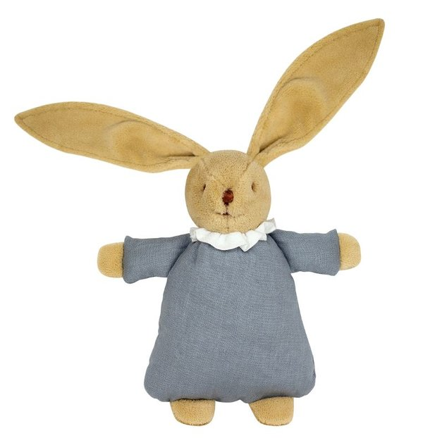 Trousselier Kuschelhase Hase Schmusetier Plüschstoff Kleid Leinenstoff Farbe graublau V6341 63