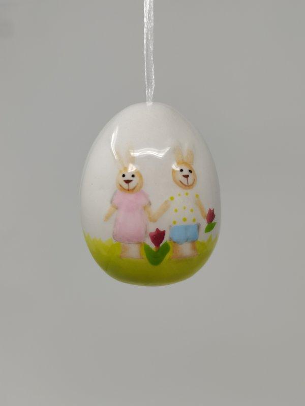 Exner Ei Osterei Keramik SpringIvory mit Hasenpaar handbemalt hängendes Dekoei, Set von 2 Stück