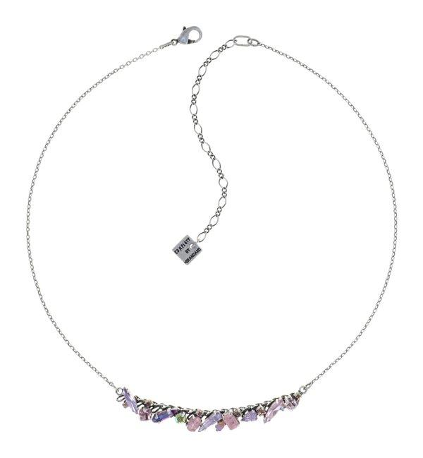 Konplott kleines Collier Kette Abegail in rose, flieder, Farbbezeichnung Honey Pink, auf hellem antique silver
