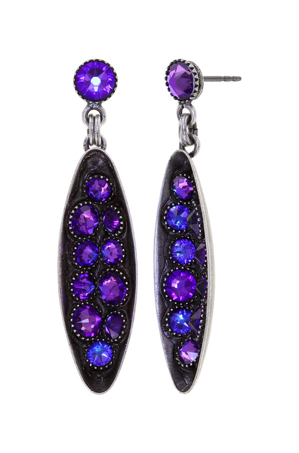 Konplott Ohrringe Stecker, hängend, Back to the future Farbe ultraviolett lila, auf antique silver by Miranda Konstantinidou