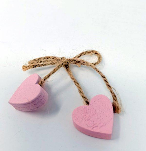 Herzanhänger Holz rosa an Schleife