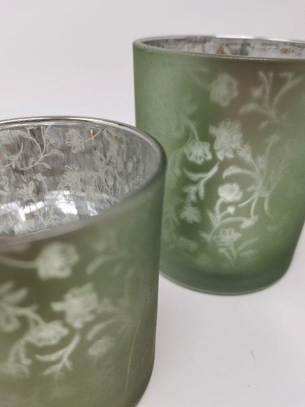 Teelicht Halter Blüten Ranken Frühling milchig grün Set von 2 Stück, 8 und 10 cm hoch