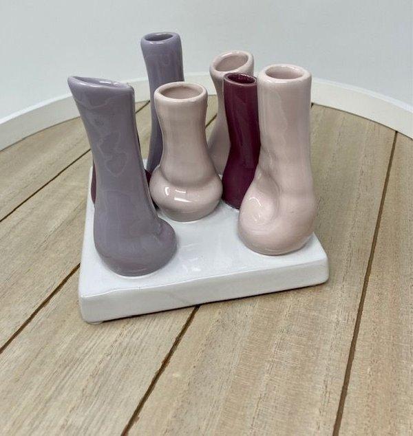 Minivasen Bianco Keramik rose Mix glasiert