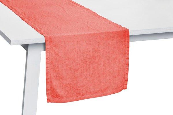 Pichler Tischläufer Gedeckläufer Liska Leinen Farbe Koralle KR  50*150 cm