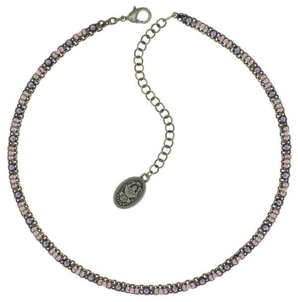Konplott Kette Kaleidoscope Illusion mit winzigen Perlchen bestückt rose flieder auf antique messing